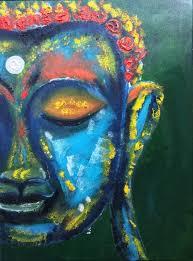 vibrant buddha art in turquoise