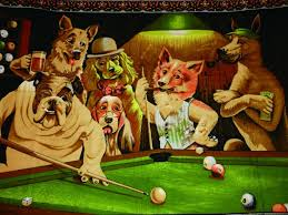 get ations canvas art print poster pool playing dogs 24x32 inches unframed