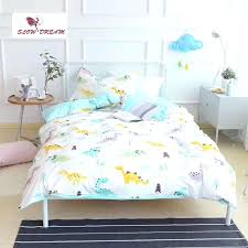 kids dinosaur bedding cartoon cute little dinosaur bedding set kids embroidery duvet cover set cotton bed set with flat sheet in bedding sets from home
