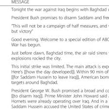 Sample Text From Abc Tv News Reporting Of 2003 Invasion Of Iraq