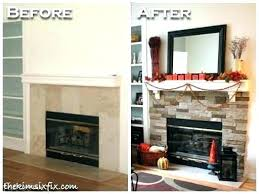 stacked stone veneer fireplace painted stone fireplace before and after stacked stone mantel makeover stone fireplace