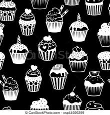 Black And White Cupcakes Pattern Sweet Cupcakes Black And White