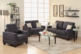 Living Room 3 Piece Sets 3 Piece Black Miro Fiber Suede Sofa Set