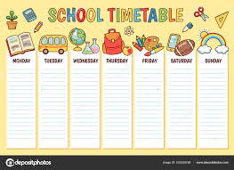 Timetable Elementary School Weekly Planner Template Cartoon