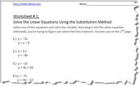 substitution method algebra worksheets