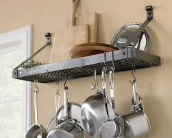 pot rack shelf.  Pot Enclume WallMounted Deep Bookshelf Rack Hammered Steel Inside Pot Rack Shelf WilliamsSonoma