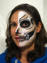 half skull face paint step 4 c alana dunlevy stage 5 with white
