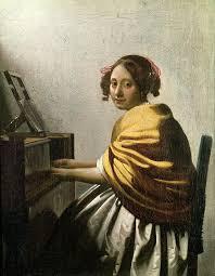 vermeer painting young woman at a virginal by jan vermeer