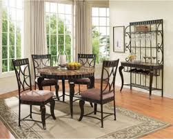 acme furniture 5 pieces galiana brown round marble top