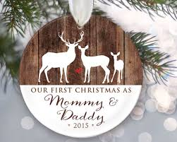 Personalized Our First Christmas as Mommy & Daddy Personalized Christmas  Ornament New Parents Ornament Deer and wood Keepsake Buck Doe Deer Gift by  ...