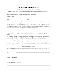 Physician Assistant Letter Of Recommendation Sample School