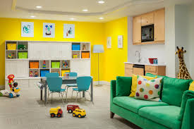 great happy bold kids basement playroom.