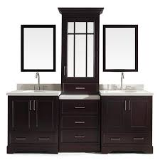 bathroom vanities. ARIEL Stafford Espresso Undermount Double Sink Bathroom Vanity With Quartz Top (Common: 85- Vanities M