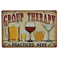 rosenice vintage metal tin group therapy practiced here wall sign for cafe bar pub beer on retro outdoor metal wall art with amazon best sellers best outdoor plaques wall art