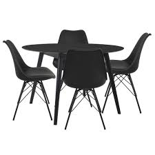 Essgruppe Esstisch Schwarz Rund Mit 4 Stühlen Schwarz Nora