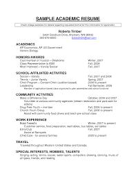 Academic Cv Template Curriculum Vitae Cvs Student Resume For