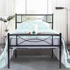 metal platform bed frame. Cheerwing 12.7\u0027\u0027 High Metal Platform Bed Frame With Two Bowknot  Headboards,Easy Assembly,Twin Full Size - Walmart.com Metal Platform Bed Frame