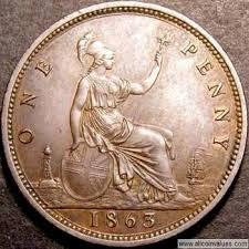 1863 Uk Penny Value Victoria No Die Number