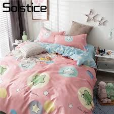 solstice home textile bedding set pink star cartoon duvet cover pillowcase flat sheet girl children kid single double bed linens shabby chic bedding