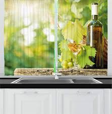 Ambesonne Wine Kitchen Curtains White Wine Bottle Glass Young Vine And Bunch Of Grapes In Green Spring Window Drapes 2 Panel Set For Kitchen Cafe
