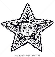 star with face doodle sketch coloring book
