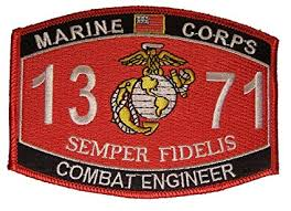 United States Marine Corps Mos 1371 Combat Engineer Mos Military Patch Veteran Owned Business