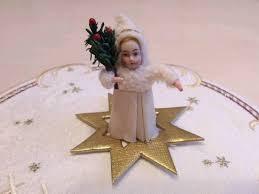 Antiker Weihnachtsschmuck Sehr Alte Wattefigur Christkind
