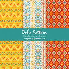 Boho Patterns Impressive Set Of Three Boho Patterns With Colored Shapes Vector Free Download