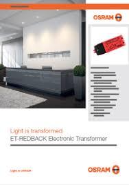 osram s et redback electronic transformer voltimum et redback 40w data sheet
