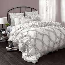 gray and white bedspread  beds decoration