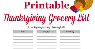 Thanksgiving Grocery List Template Printable Thanksgiving Grocery List Shopping List