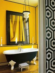 yellow bathroom color ideas. Yellow Painted Wall For Bathroom With Classic Monochromatic Bathtub Pendant Lamp Large Decorative Mirror Color Ideas