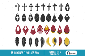 earrings template svg bundle faux leather earrings svg example image 1