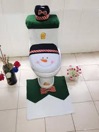 hotchrismas decorations toilet seat cover and rug set tank also includes a tissue box