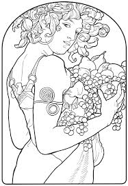 Alphonse Mucha Line Art Alphonse Mucha Coloring Pages Mucha 235 Best Coloring Pages Images On Pinterest Coloring BooksL