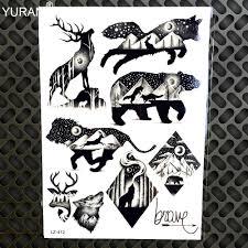 3 штлот водонепроницаемый поддельные татуировки Galaxy планет олень волк наклейки