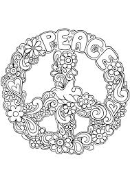 Hippie Coloring Pages Peace Sign Coloringstar