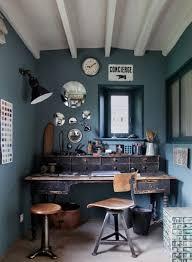 vintage home office furniture. Dark Blue Walls Vintage Office Furniture Desk And Chair Of Home W