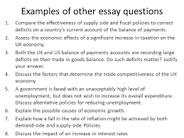as level economics unit workshop mr spicer structure of  examples of other essay questions 1 compare the effectiveness of supply side and fiscal policies