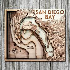 San Diego Bay Ca Wood Map 3d Nautical Wooden Chart