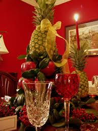Amusing Christmas Table Arrangements With Red Fruits And Candys At Unique  Fruit Holder ...