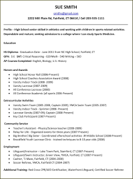 A High School Resume High School Resume Examples For College Applications