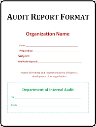 Simple Audit Report Format Template Cover with Organization Name ...