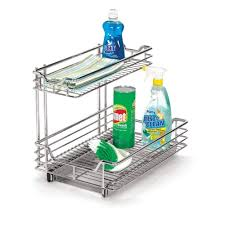 Under Kitchen Sink Storage Household Essentials 12 In Under Sink Sliding Organizer Kd Chrome