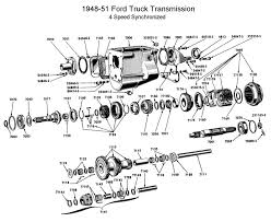 flathead parts drawings transmissions four speed trans synchro for 1948 to 51