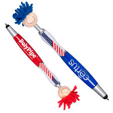 logo personalized promotional patriotic moptopper goofy usa flag printed pen stylus screen cleaner bulk independence