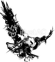 筆書き鷲イラスト鳥墨絵和風手書きラフ迫力イラスト No 261200無料