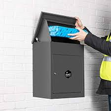 parcel drop box. Contemporary Box Wall Mounted Smart Parcel Drop Box Dark Grey For Secure Multiple Internet  Deliveries Of Large Delivery Intended G
