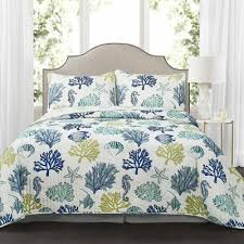 3pc king quilt set coastal reef navy