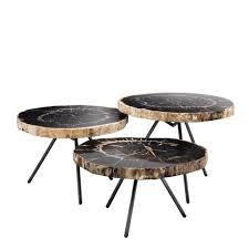 wood coffee table set. De Soto Dark Petrified Wood Coffee Table Set Of 3